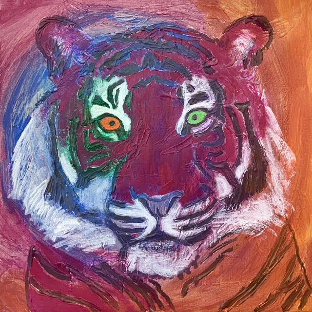 TIGERPORTRÆT 3. - 2020. 50X50 cm. Tigermaleri