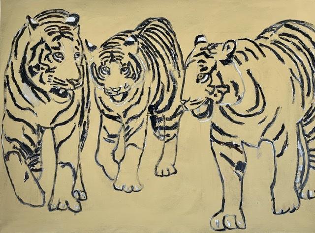 04. Les Trois Mousquetaires. 100x75 cm. 2020. Tigermaleri af Uffe Christofferesen. Kejlstrup