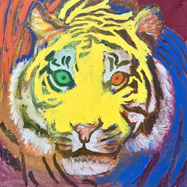TIGERPORTRÆT 4. - 2020. 50X50 cm. Tigermaleri