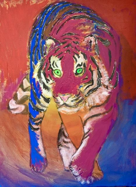 RØD TIGERDER VENDER SIG. 2020. 81X60 cm. Tigermaleren Uffe Christoffersen