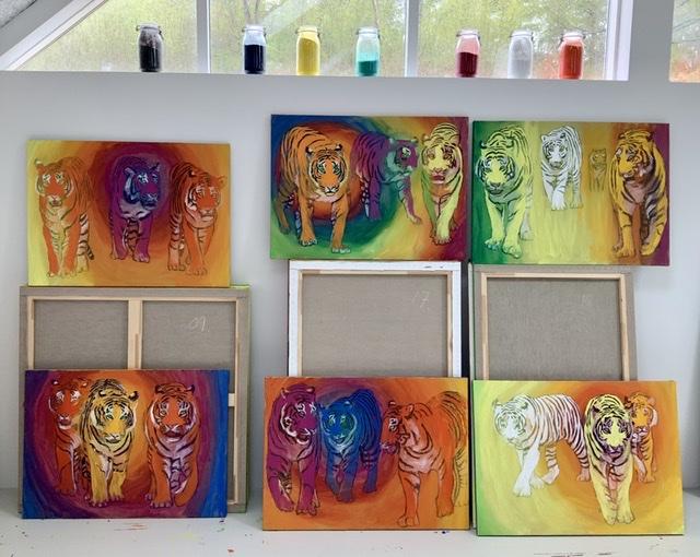 Atelier-kaiserborgen. Tigre i farverum af Uffe Christoffersen