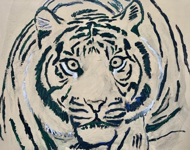 """""""SORTE STRIBER"""". -2020. 73X92 cm. Tigermaleren Uffe Christoffersen. Atelier-Kaiserborgen"""