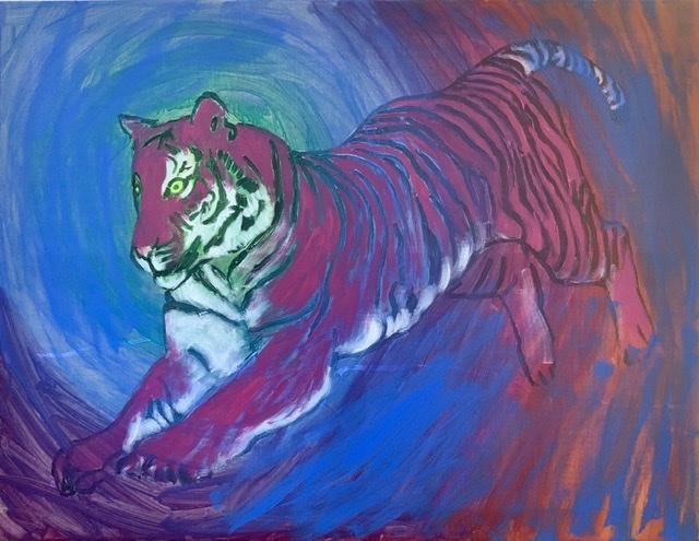 Tigerspring. Tigermaleri af uffe Christoffersen. ATELIER-KAISERBORGEN