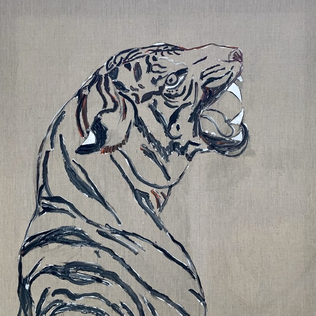 Tiger growl. -2020. 114x114 cm. (In progres) Atelier-Kaiserborgen. Uffe Christoffersen