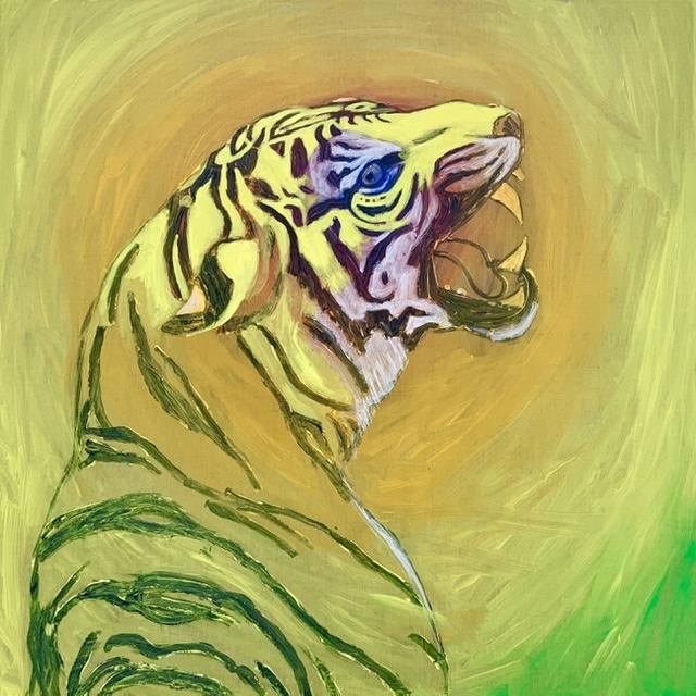 Tiger growl. -2020. 114x114 cm. (In progres). Atelier-Kaiserborgen. Uffe Christoffersen.