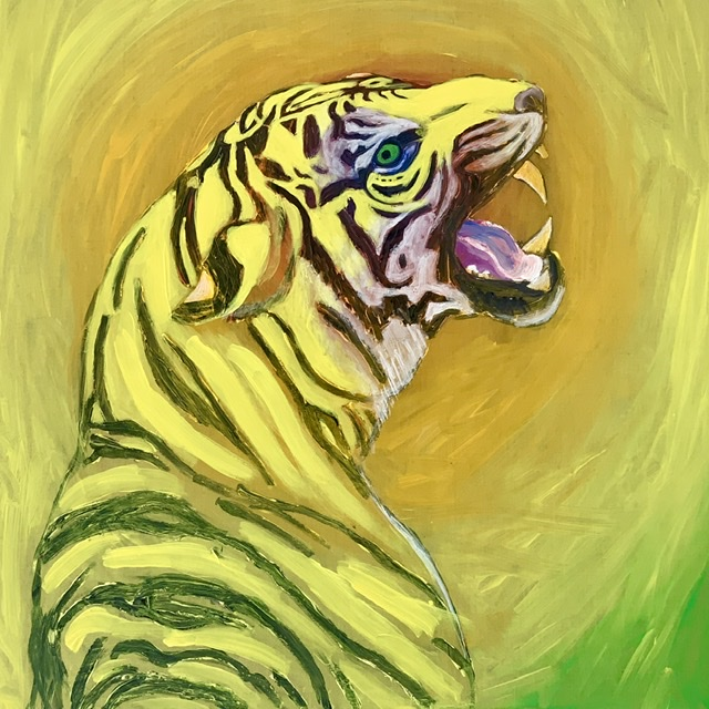 Tiger growl. -2020. 114x114 cm. Atelier-Kaiserborgen. Uffe Christoffersen.