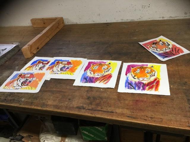 Farveskitser til det litografiske tryk. Uffe Christoffersen. Atelier-Kaiserborgen
