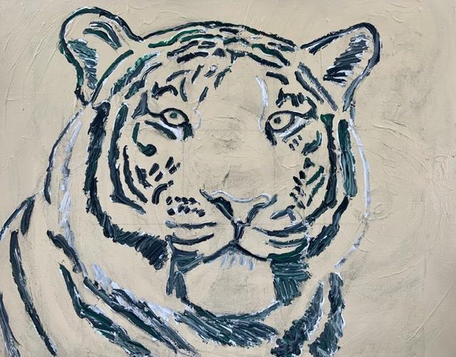 Uffe Christoffersen. Tigermaleri. Atelier-Kaiserborgen