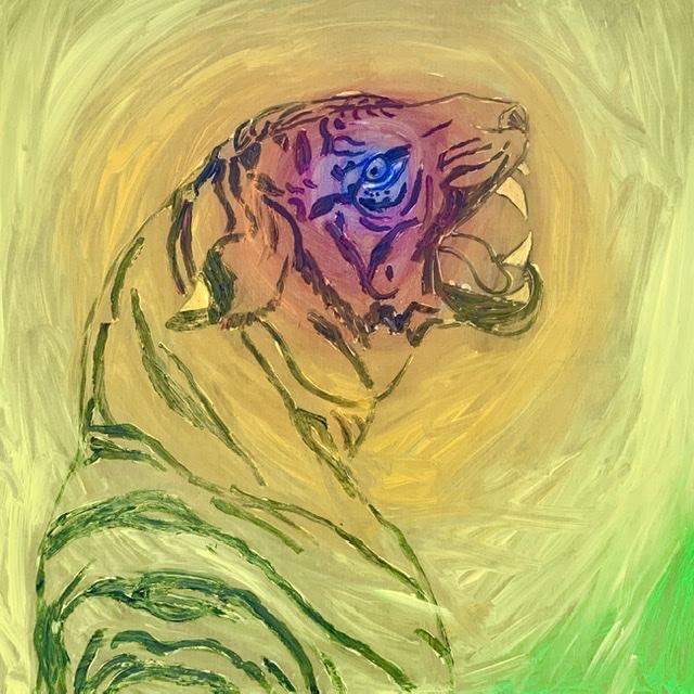 Tiger growl. -2020. 114x114 cm. (In progres). Atelier-Kaiserborgen. Uffe Christoffersen.