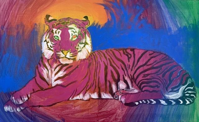En solidarisk tiger... Tigermaleri af Uffe Christoffersen. ATELIER-KAISERBORGEN