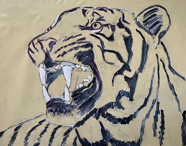 TIGER GROWL II. - 2020. 130x162 cm. (Malet op med en sort farve blandet med hvidt og purpur rødt) Uffe Christoffersen. Atelier-Kaieserborgen.