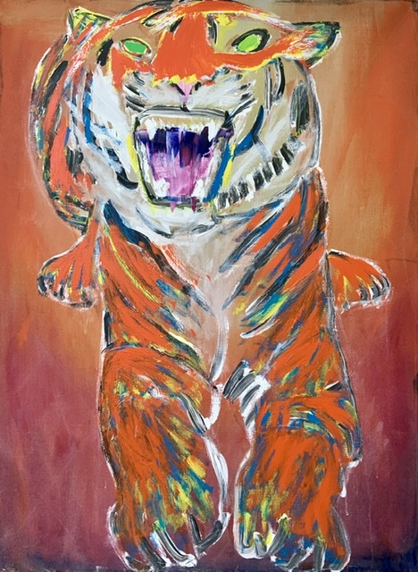 05. CHINESE TIGER. - 130X97 cm. 2015. Uffe Christoffersen. Atelier-Kaiserborgen.