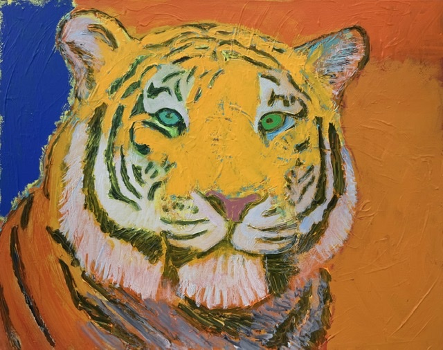 02. ORANGE TIGER II. - 73x92 cm. 2020. Uffe Christoffersen. Atelier-Kaiserborgen.