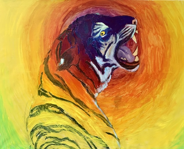 TIGER GROWL I. - 2020. 130x162 cm. Uffe Christoffersen. Atelier-Kaiserborgen.