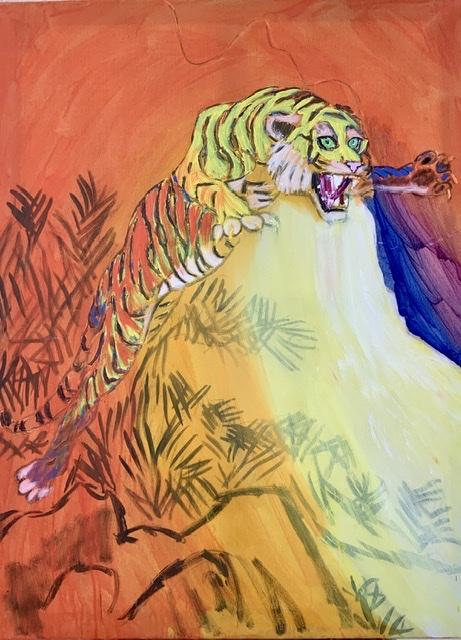 03. CHINESE TIGER. - 130X97 cm. 2015. Uffe Christoffersen. Atelier-Kaiserborgen.