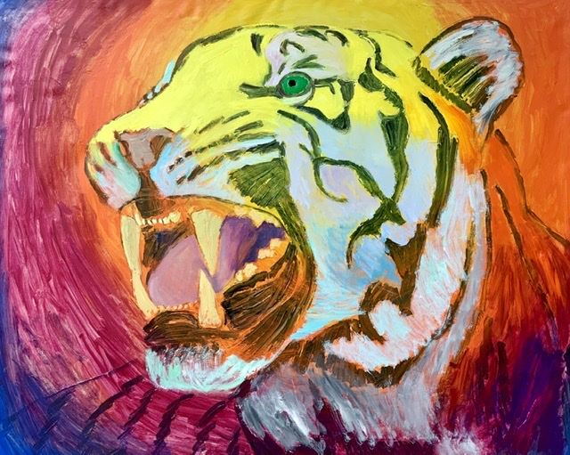 TIGER GROWL II. - 2020. 130x162 cm. Uffe Christoffersen. Atelier-Kaiserborgen.