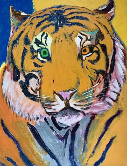 """Knurhår-tiger"" I. 130x100 cm. 2020. Uffe Christoffersen. Atelier-Kaiserborgen"