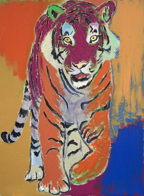 TIGER ON A MOONLESS NIGHT. 81x60 cm. 2020. Uffe Christoffersen. Atelier-Kaiserborgen