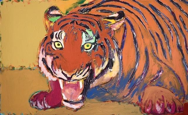 Angribende tiger. - 86x130 cm. 2020. Uffe Christoffersen. Atelier-Kaiserborgen