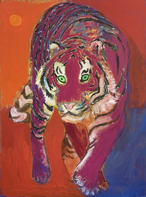 TIGER UNDER THE RED MOON. 81x60 cm. 2020. Uffe Christoffersen. Atelier-Kaiserborgen