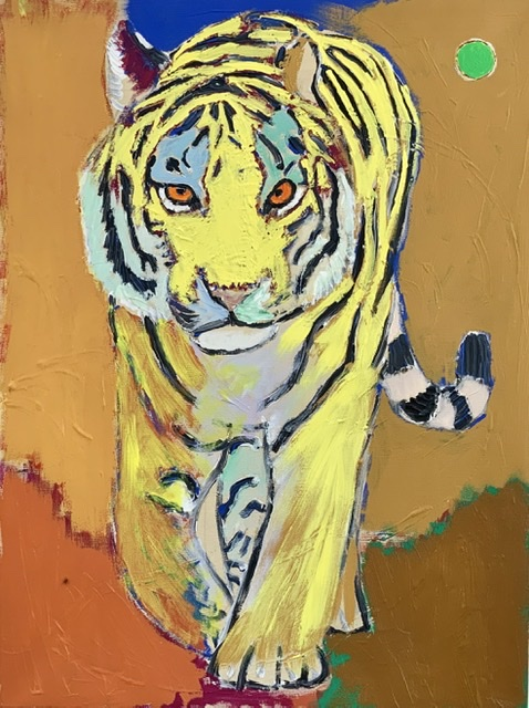 TIGER UNDER THE ORANGE MOON. 81x60 cm. 2020. Uffe Christoffersen. Atelier-Kaiserborgen.