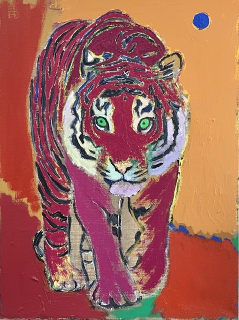 TIGER UNDER THE BLUE MOON. 81x60 cm. 2020. Uffe Christoffersen. Atelier-Kaiserborgen.