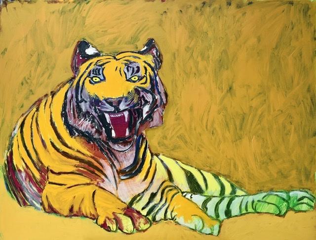 "Tigerens ""blink"" bag øret. - 100X130 cm. 2020. Uffe Christoffersen. Atelier-Kaiserborgen"