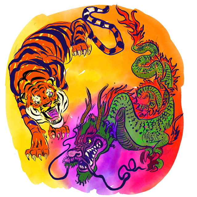 03. Tiger and dragon. - Digital Art - 2020. Uffe Christoffersen. Atelier-Kaiserborgen.