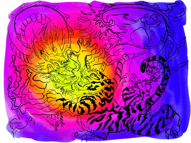 O4. Tiger and Dragon. - Digital Art. 2020. Uffe Christoffersen. Atelier-Kaiserborgen