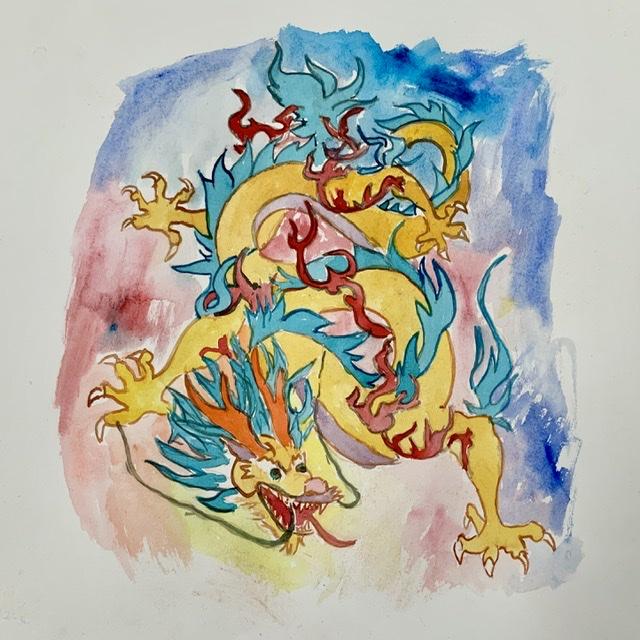07. Dragon - Papirstr. 38x38 cm. 2020 - Akvarel. Uffe Christoffersen. Atelier-Kaiserborgen.