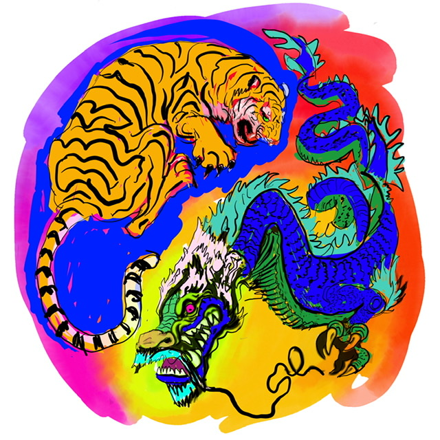 06. Tiger and dragon. - Digital Art - 2020. Uffe Christoffersen. Atelier-Kaiserborgen