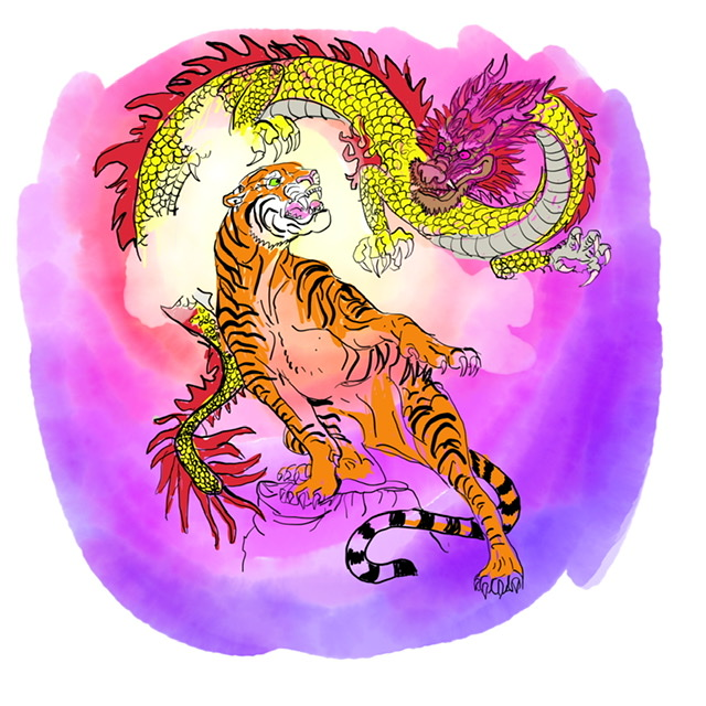 01. Tiger and dragon. - Digital Art - 2020. - Digital Art - 2020. Uffe Christoffersen. Atelier-Kaiserborgen.