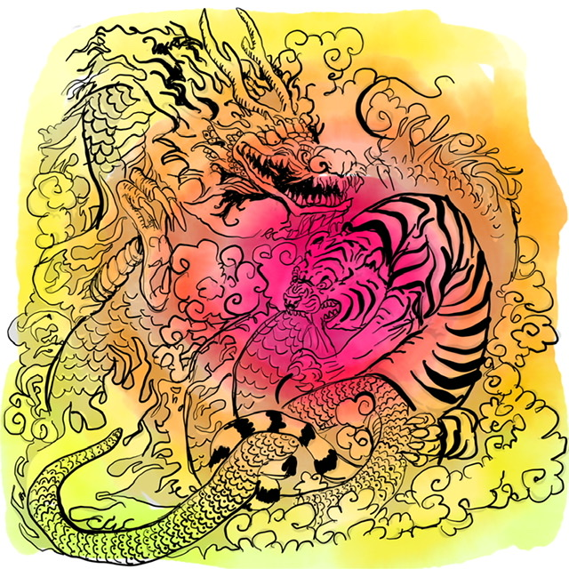 O2. Tiger and Dragon. - Digital Art. 2020. Uffe Christoffersen. Atelier-Kaiserborgen