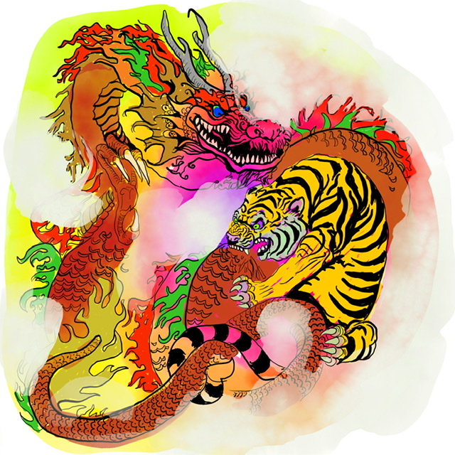 08. Tiger and dragon - Digital Art - 2020. Uffe Christoffersen. Atelier-Kaiserborgen