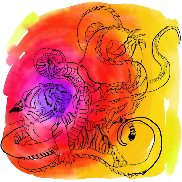 O3. Tiger and Dragon. - Digital Art. 2020. Uffe Christoffersen. Atelier-Kaiserborgen