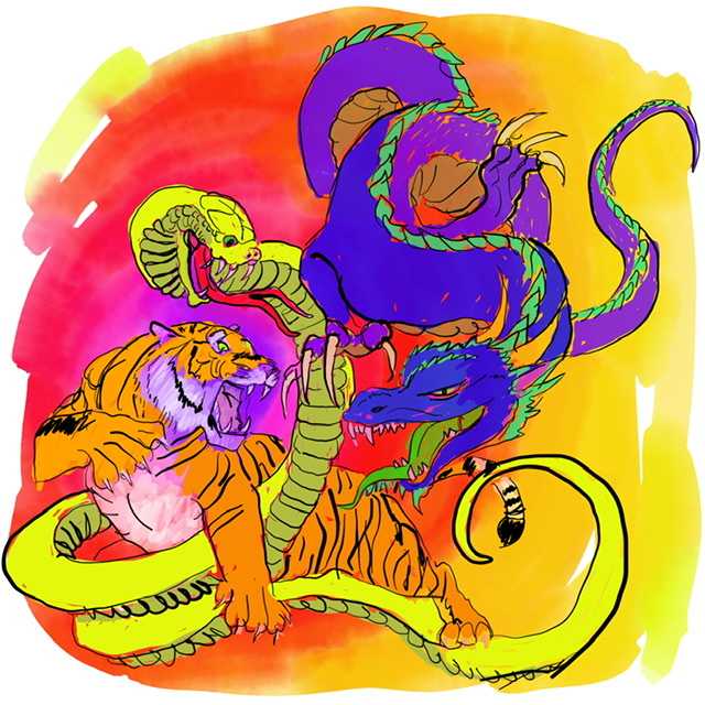 04. Tiger, Snake, and dragon. - Digital Art - 2020. Uffe Christoffersen. Atelier-Kaiserborgen.