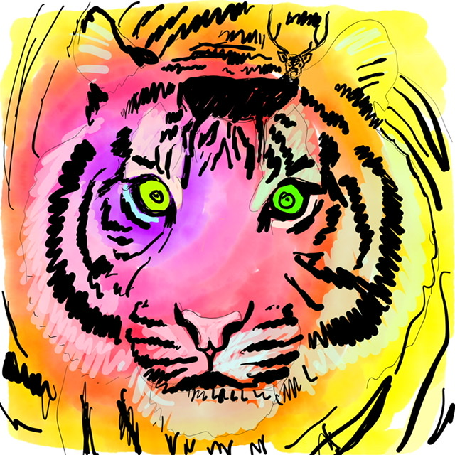 02. Tiger watching a deer. - Digital Art - 2020. Uffe Christoffersen. Atelier-Kaiserborgen