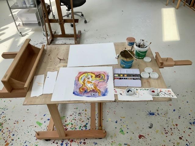 Akvarelbord. Uffe Christoffersen. Atelier-Kaiserbogen.