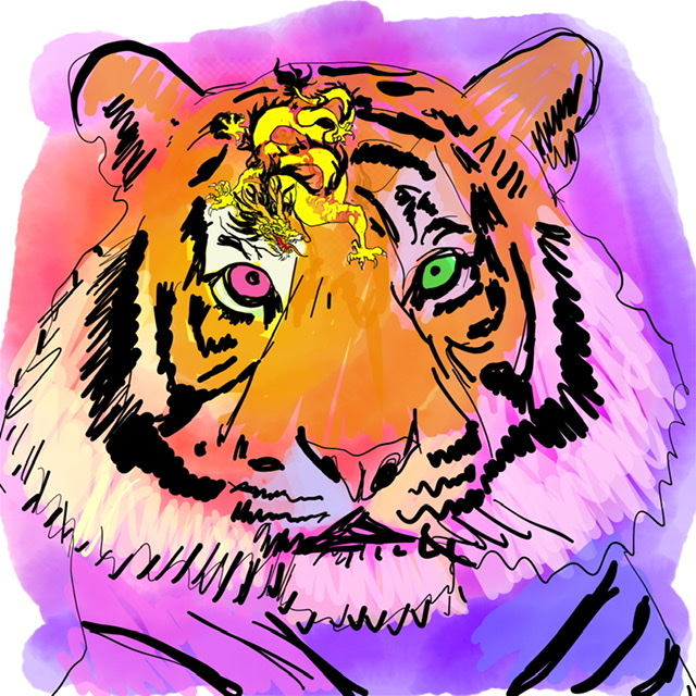 05. Tiger watching a dragon. - Digital Art - 2020. Uffe Christoffersen. Atelier-Kaiserborgen.