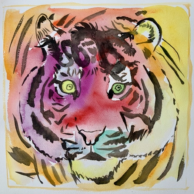 02. Tiger watching a dragon - Paper size. 38x38 cm. 2020 - Watercolor. Uffe Christoffersen. Atelier-Kaiserborgen.