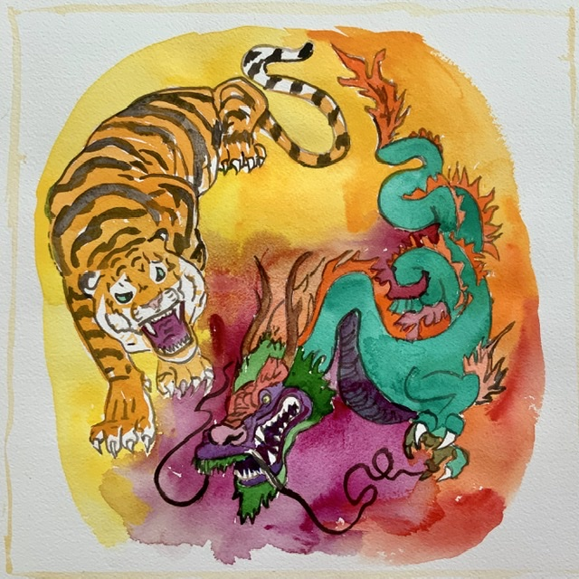 03. Tiger and dragon - Paper size. 38x38 cm. 2020 - Watercolor. Uffe Christoffersen. Atelier-Kaiserborgen.