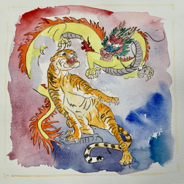 01. Tiger and dragon - Paper size. 38x38 cm. 2020 - Watercolor. Uffe Christoffersen. Atelier-Kaiserborgen