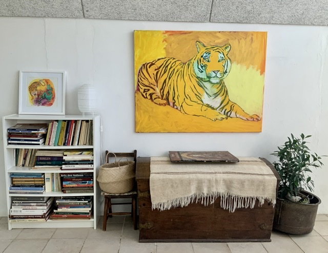 Yellow tiger - 100x130 cm. 2020. Uffe Christoffersen. Atelier-Kaiserborgen.