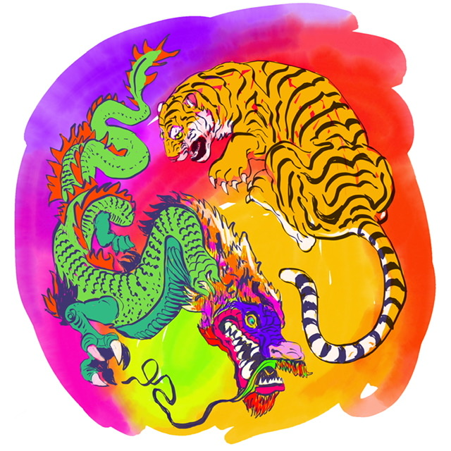 TIGER and DRAGON - Digital Art. UFFE CHRISTOFFERSEN. Atelier-Kaiserborgen