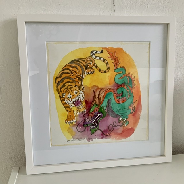 Tiger and dragon. 50x50 cm. 2020. Watercolor. Uffe Christoffersen. Atelier-Kaiserborgen.