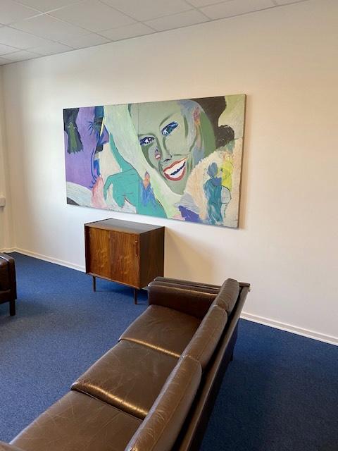 Atelier-Kaiserborgen. Uffe Christoffersen. Maleri. 122x244 cm. 1975
