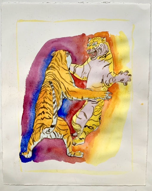Uffe Christoffersen. Atelier-Kaiserborgen. 08. Dancing with a tiger - 39x29 cm - Watercolor