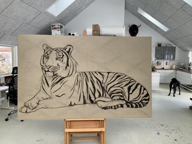 Uffe Christoffersen. Atelier-Kaiserborgen. Stadie 1. Liggende tiger - 130x210 cm 2021 - Tegnet op med kul på det rå hørlærred.