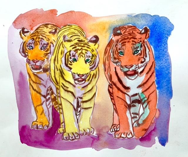 Uffe Stadil Christoffersen. Atelier-Kaiserborgen. 02. Tiger trio - 29x39 cm 2021 - Akvarel