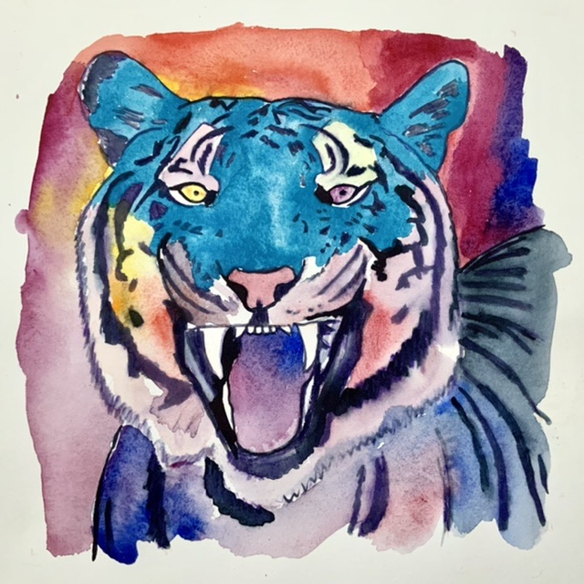 Uffe Christoffersen. Atelier-Kaiserborgen. Laughing tiger - 29x29 cm 2021 - watercolor